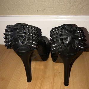 Betrsey Johnson studded bow platform heel